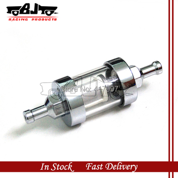 FF-2004S High quality new style short chrome plated clear view glass fuel filter 1/4'' for car ,motorcycle ATV