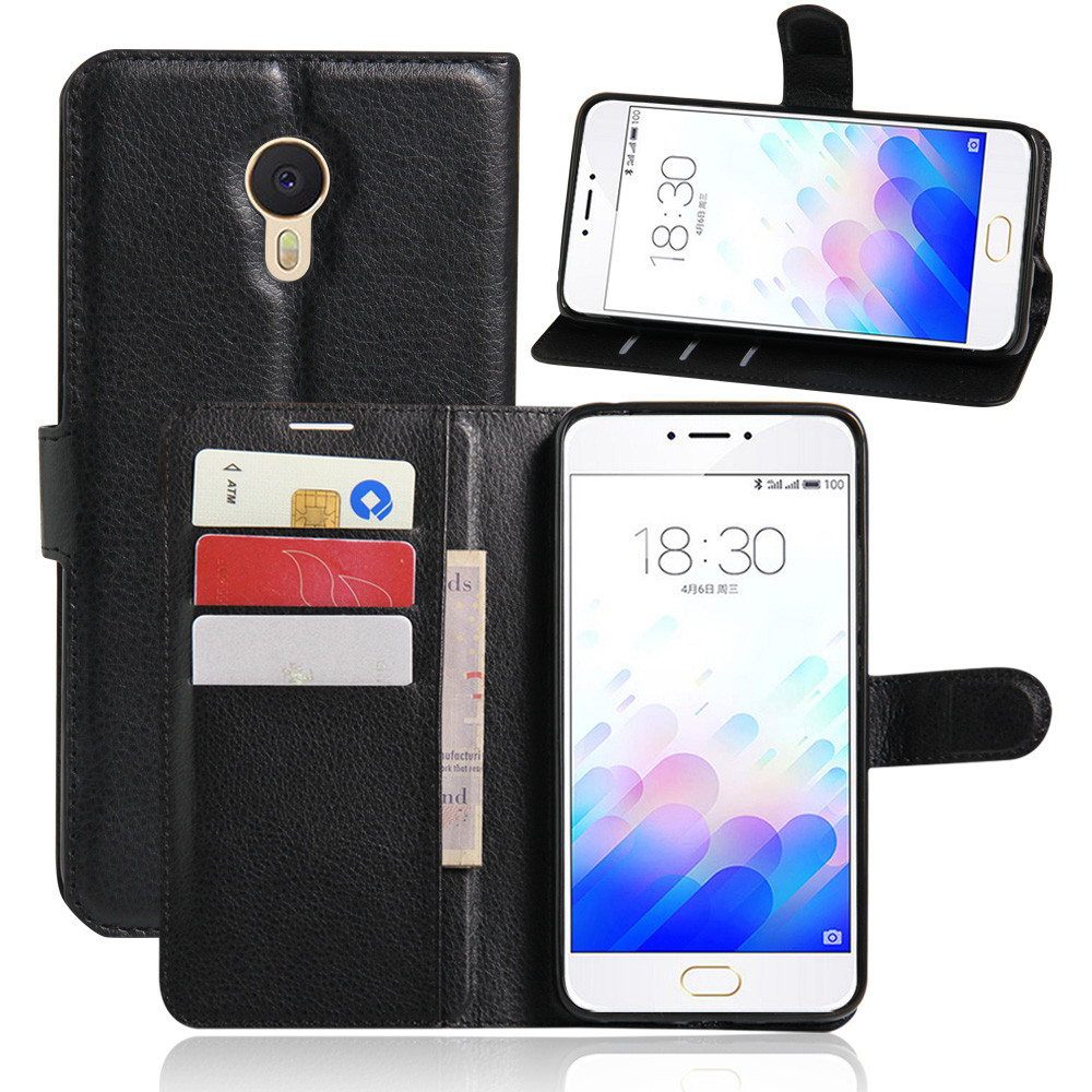 M3 Note Case Luxury Lychee Print PU Leather Case For Meizu M3 Note Flip Stand Wallet Phone Shell Back Cover With Card Holder(China (Mainland))