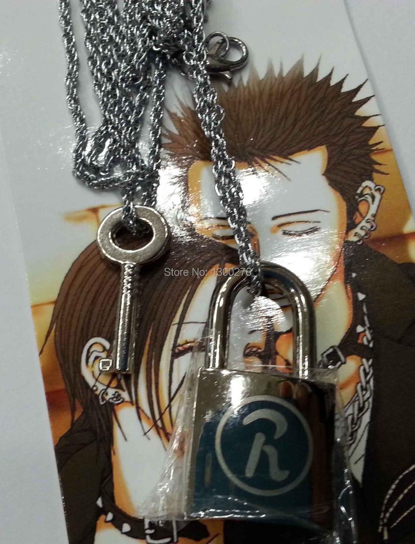 Anime cosplay costume necklace hot sales Ai Yazawa NANA lover's necklace metal fashion key&lock 2pcs/set alloy necklace(China (Mainland))