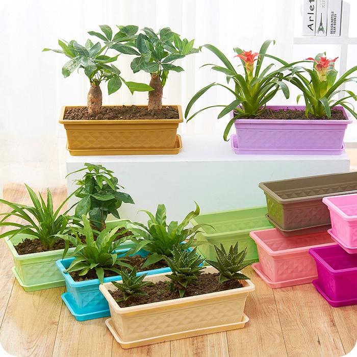 Rectangulares de pl stico macetas macetas del balc n de for Plantas decorativas de plastico
