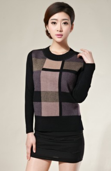 New Winter Low Round Collar Middle-Aged And Old Women'S Grid Knit Sweater Middle-Aged Mother Big Yards(China (Mainland))