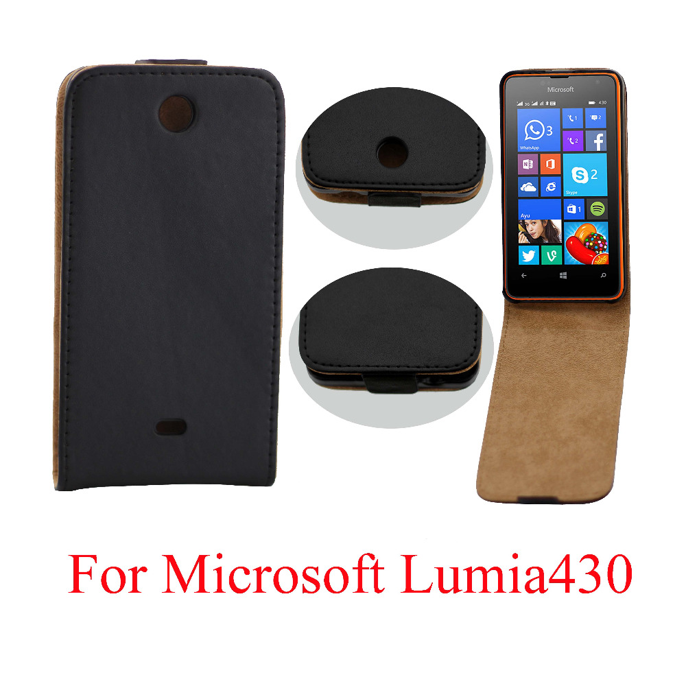 For Nokia lumia 430 Cases Flip Vertical Black leather Case cover for Microsoft Lumia 430 Mobile Phone Accessories S4E23D(China (Mainland))