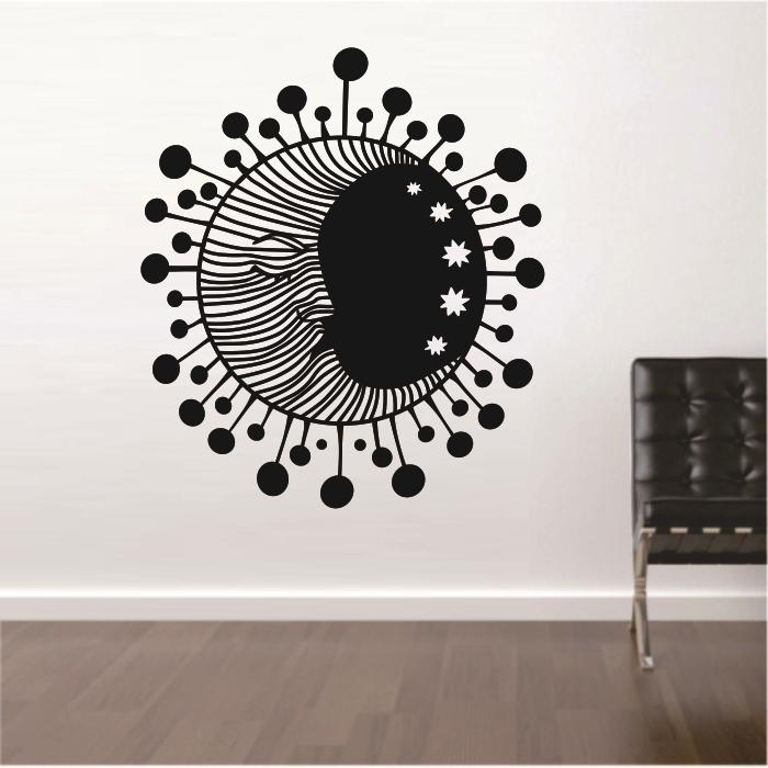 Vinyl Wall Sticker Wall Decals Home Decor Art Sun Crescent Dual Ethnical Stars Moon(China (Mainland))