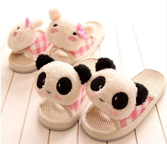 New arrival cartoon panda onrabbit doll head massage lucy refers to cotton linen lovers at home floor slippers