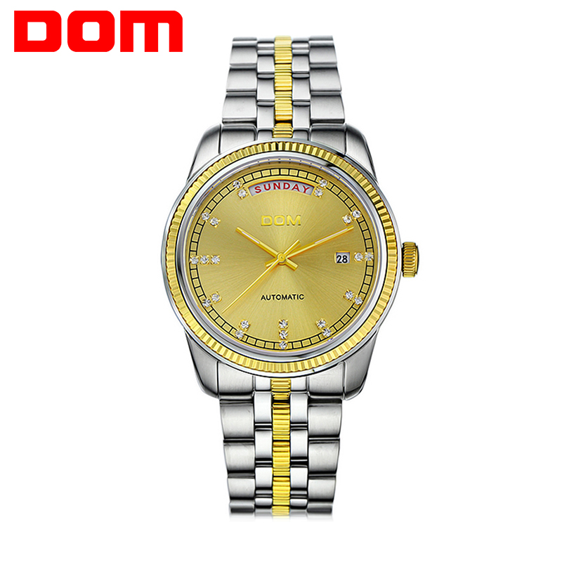 DOM Geneva watches men luxury brand automatic mechanical watch business casual stainless steel watch authentic relogio masculino