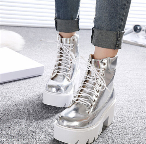 Punk Gothnic womens Ankle Boots Lace Chunky Block Square High Heel platform Creeper round toe Fasihon shoes
