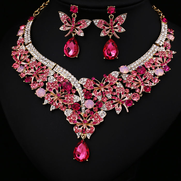 Pink set crystal rhinestone bridal jewelry set african for Pink wedding jewelry sets