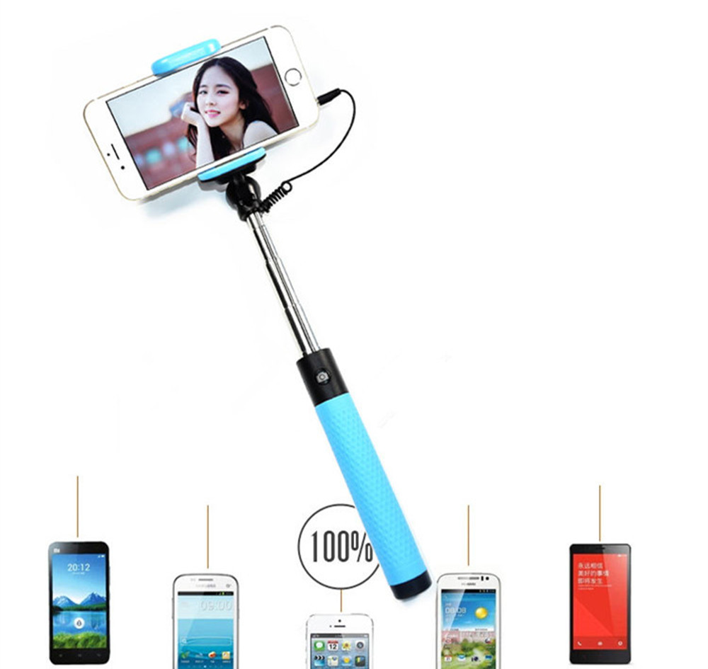 hot selling mpow cable take pole hanger wired extendable selfie stick monopod for mobile phone. Black Bedroom Furniture Sets. Home Design Ideas