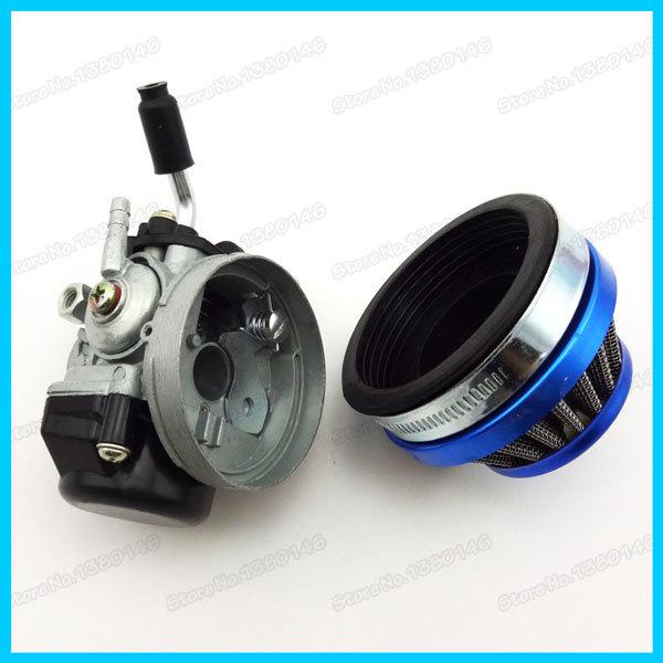 Гонки карб карбюратор с 60 мм голубой воздушный фильтр для 49cc 50cc 60cc 66cc 80cc моторизованный велосипед 2 ход