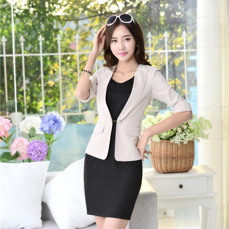 New 2015 Spring Autumn Formal Office Uniform Designs Women Dress Suits Blazer Sets Terno Feminino Fashion Ladies Business Suits