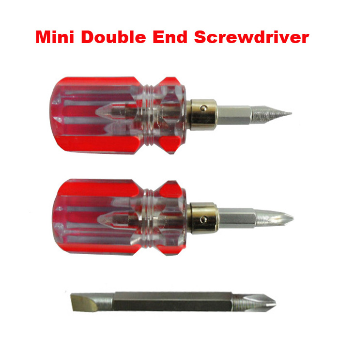 1PC Mini Double End Slotted and Philips Screwdriver with Non-slip Massage Small Pocket Screw Driver(China (Mainland))