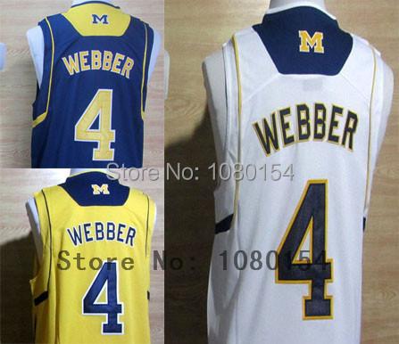 2014 New Style NCAA Men's College Basketball Jersey Chirs Webber 4 Basketball White Yellow Blue Stitched Jerseys Free Shipping(China (Mainland))