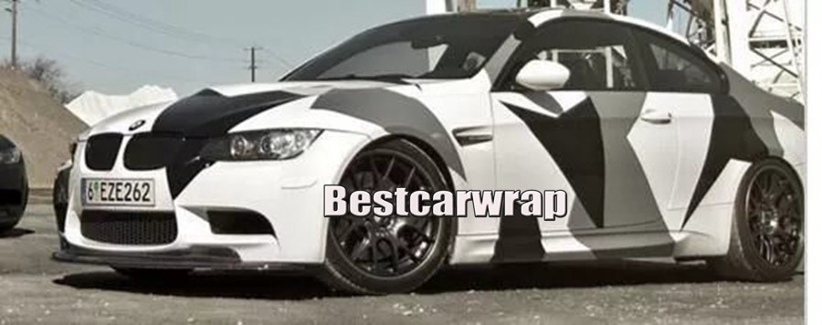 big snow white Grey black large pixel camo vinyl car wrapping film cam Coulfage auto styling covers (16)