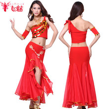 Flying charm belly dance costumes exercise suit sequins sexy single shoulder bag hip skirt suit jacket