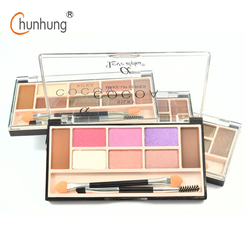 LOVE ALPHA 6 Colors eye shadow palette & 2 color eyebrow Powder nude eyeshadow palette Highlighter Shades Diamond Brand Makeup(China (Mainland))