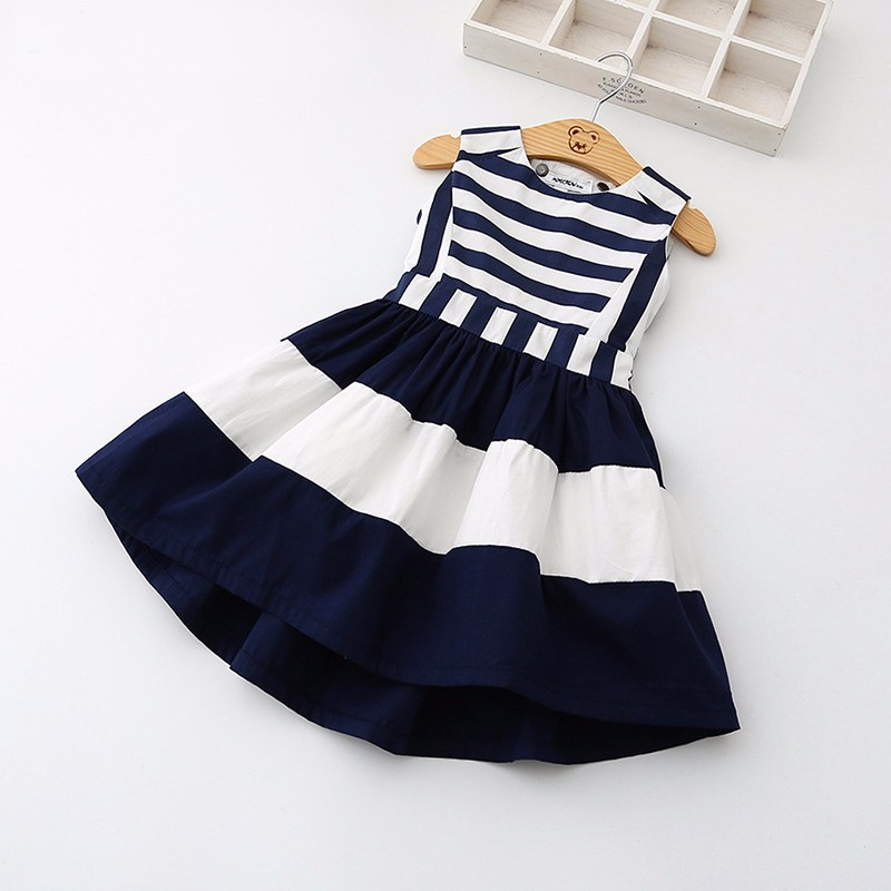 Military Style Girls Dress fashion hot sale high quality Summer Girls Navy style Back Stripe Splicing tutu dress party girl gift