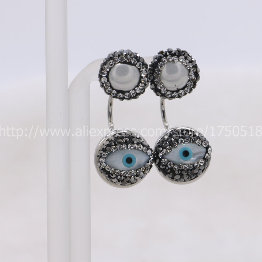 Natural pearl beads stud earrings with Evil Eye beads double sided stud earrings handcrafted earrings gem jewelry for women 519(China (Mainland))