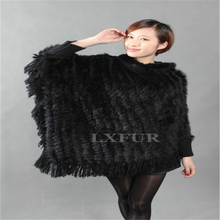 Real Lady Knitted Rabbit Fur Poncho Hooded Fashion Woolen Shawl Fashion Hoody with Tassels Casual Wrap with Sleeves AU00249(China (Mainland))