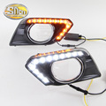 With Yellow Turning Function Matte Black ABS 12V LED Daytime Running Light For Nissan X Trail