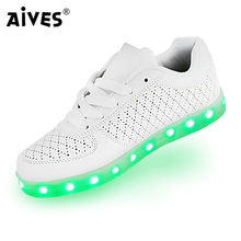 AIVES Cool LED shoes women light up shoes USB recharging glowing shoes for adults men soft casual shoes chaussure led femme