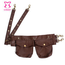 Black/ Brown Faux Leather Steampunk Pouch Belt / Waist Bags Corsets and Bustiers Accessories – Can Be Used In Burlesque Outfits