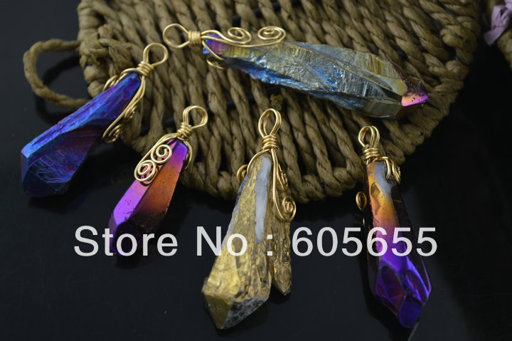 Mix color Wire Wrapped Plated Natural Crystal Quartz Rough Point Pendants fit Necklace Fashion Jewelry 10 pc/lot Free Shipping
