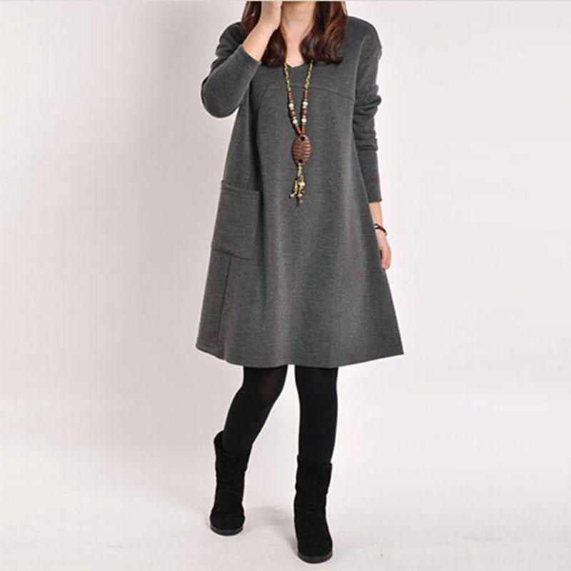 Vestidos 2015 Autumn Winter Women Long Sleeve Pocket Dress Ladies Casual Loose Solid V Neck Dresses Plus Size 5 Color Hot Sale(China (Mainland))