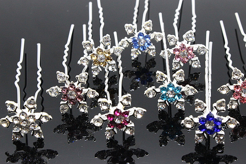 10pcs/lot Snowflake Women Hairpins Snow Queen Brides Hair Combs Fashion New Style 2016 Simple Rhinestone Hair Jewelry H-334(China (Mainland))