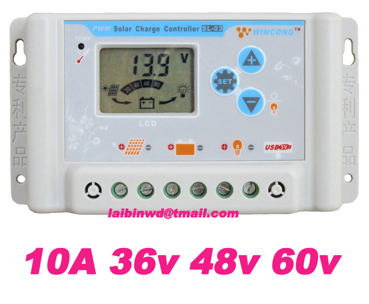 factory directly sale 10A suit for 36V 48V 60V wincong sl03-4830a solar Charge Controllers LCD displayg freeshiping(China (Mainland))