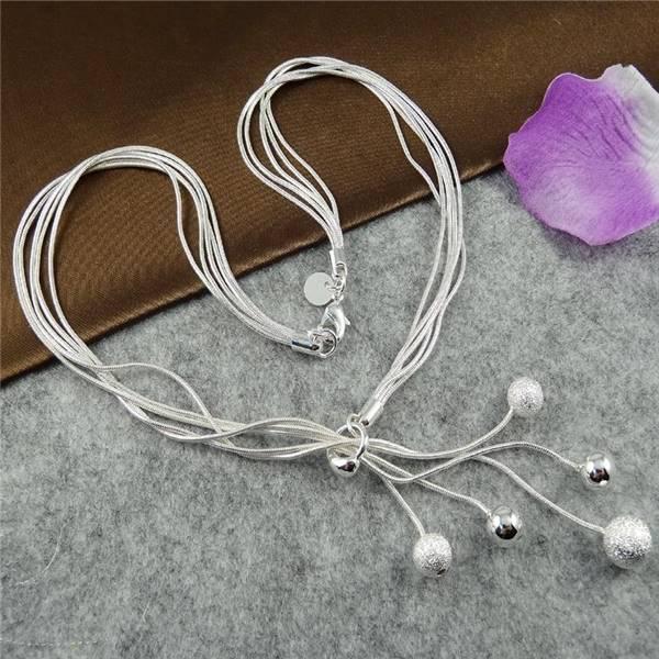 Big Promotion Tai Chi Five Beads Silver Bohemia Necklaces Pendants Chain Bijuterias 2014 Fashion Women -37255-AAAAAA(China (Mainland))