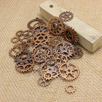 Wholesale Mix 100 pcs Antique Copper Charms Gear Pendant Antique bronze Fit Bracelets Necklace DIY Metal Jewelry Making T0186