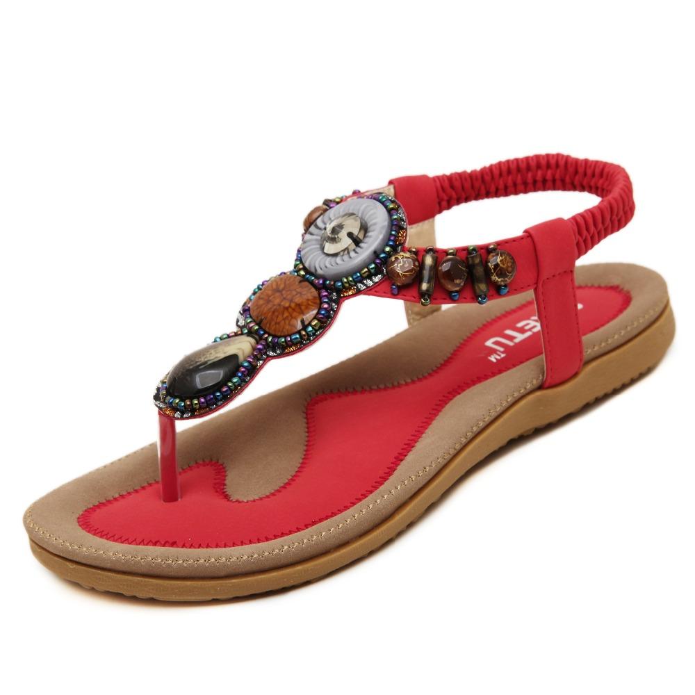 sandali donna estate 2016 gladiator sandals women shoes bohemia flat shoes sandalias mujer ladies shoes new flip flops 35-41