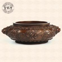 The golden snail 16 # copper carved lotus petal lotus pattern beast ear furnace manual incense burner(China (Mainland))