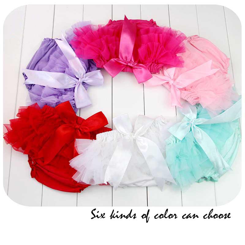 Newborn Bloomer Solid Color Shorts Cute Baby Girls Short Pants Cotton Layers Chiffon Ruffled Kids Diaper Covers Bebe PP Shorts(China (Mainland))