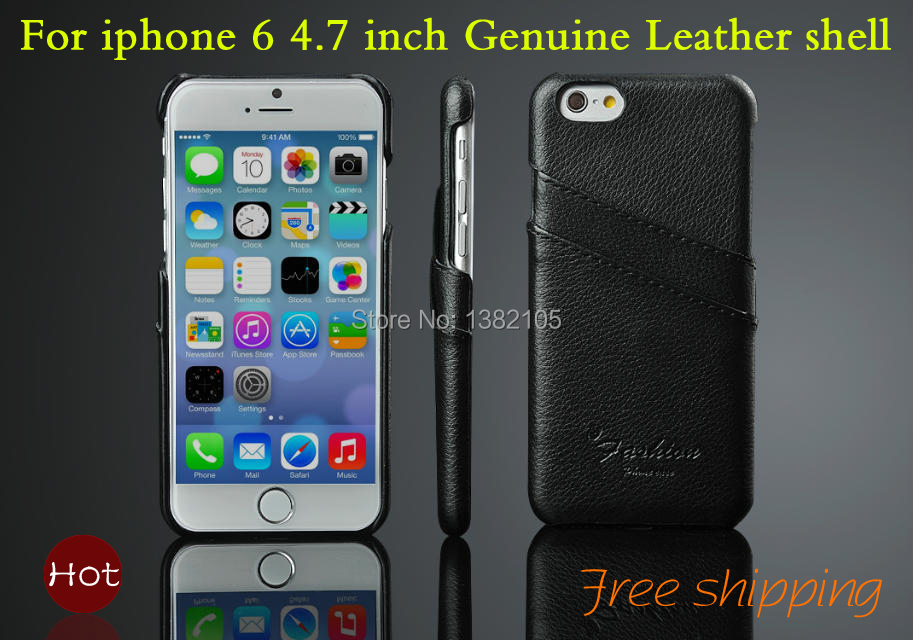 High quality Genuine Leather Cover For Apple iphone 6 case Simple Retro Back Shell For iPhone6 4.7 inch Cell phone case Hard(China (Mainland))