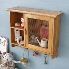 Natural Finish Wire Mesh Door Vintage Handmade Wood Cabinet Small(China (Mainland))