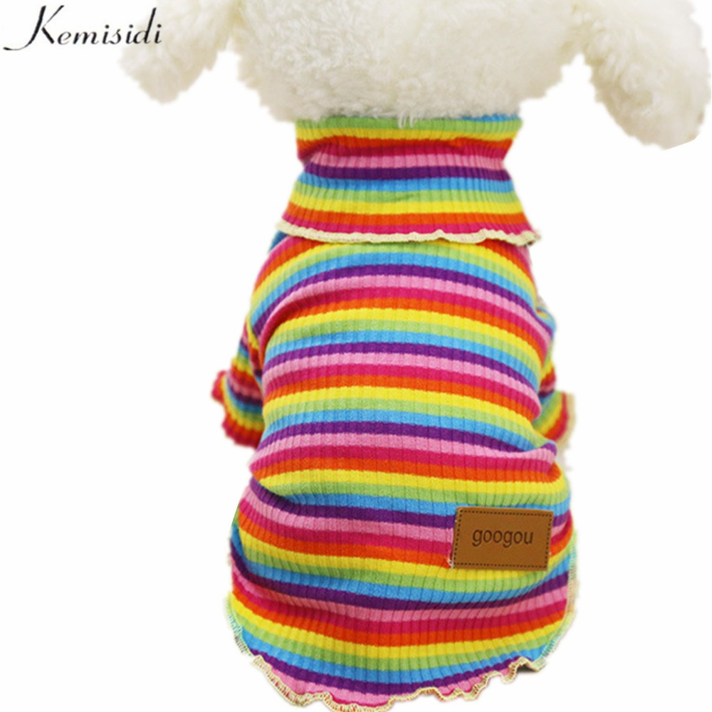 KEMISIDI Sweet Pet Sweater Soft Plush Autumn Winter Dog Clothes Colorful Hoodies For Small Dogs Cats Rainbow Pattern Size XS-XXL(China (Mainland))