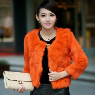 leather coat 2013 new womens clothing real  fur rabbit real  fur seven ladies coat short sleeveОдежда и ак�е��уары<br><br><br>Aliexpress