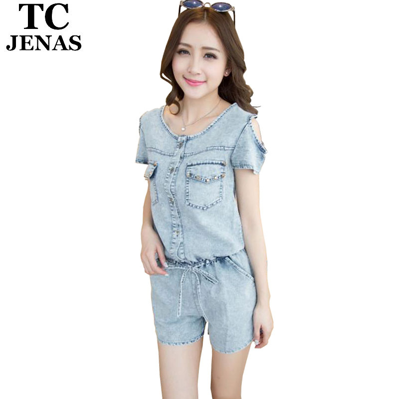 Beautiful Women Fashion Summer Denim Jumpsuits 2016 Ladies Sexy Skinny Jeans Rompers Ca