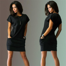 2016 Summer women dresses sexy o-neck Black and red dress Casual Batwing Short sleeve pockets mini Shirt Dress New Fashion(China (Mainland))