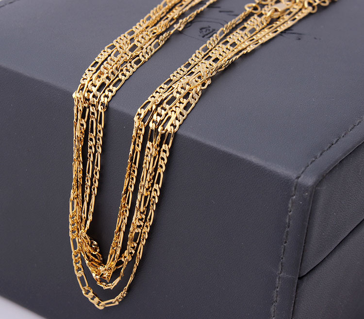 wholesale 18k gold chain 18kgf figaro chain cheap 16 18 inch chain wholesale stamped 18kgf free shipping suport 20-30inch oem(China (Mainland))