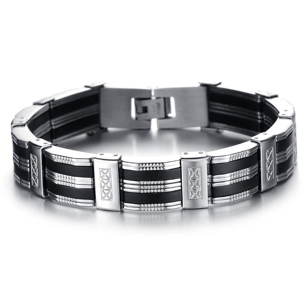 Wholesale NEW Fashion jewelry Punk black Silicone mix Stainless Steel Personality Men Bracelet male Bangles(China (Mainland))