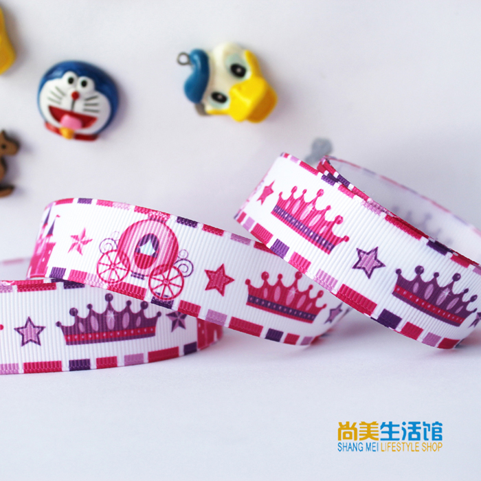 New arrival 7/8'' (22mm) crown pumpkin carriage printed ribbon gift decoration package belt hairbow accessory OEM 100 yards/roll(China (Mainland))