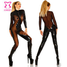 Plus Size Cosplay Costumes Latex Zentai Suits Black Transparent Mesh & PVC Bodysuit Women Sexy Adult Erotic Game Zipper Catsuit