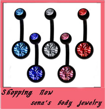 Buy Stainless steel navel ring free shipping150pcs/lot mix 5 color steel black belly button ring belly bar navel body jewelry for $46.37 in AliExpress store