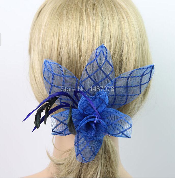 1pcs woman party feather sinamay Fascinators headband Corsage Hair Clip Brooch Barrette for Wedding Bridal Hair Dress(China (Mainland))