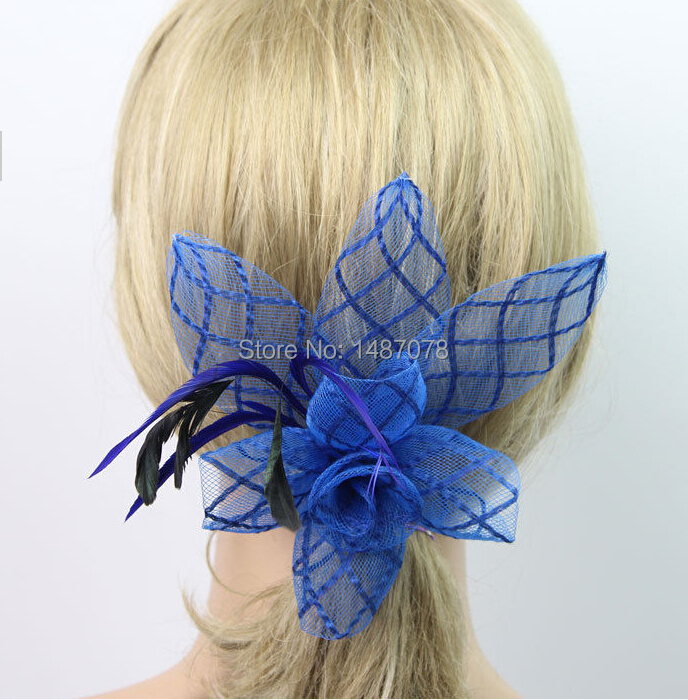 1pcs woman party feather sinamay Fascinators headband Corsage Hair Clip Brooch Barrette for Wedding Bridal Hair Dress(China (Mainland))