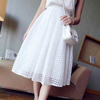 Women summer casual long skirt high waist pleated plaid skirts womens tutu skirt brand faldas white black