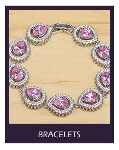 Punk Pink CZ Princess 925 Sterling Silver Jewelry Sets For Women Drop Earrings Pendant Ring Bracelet Necklace Set