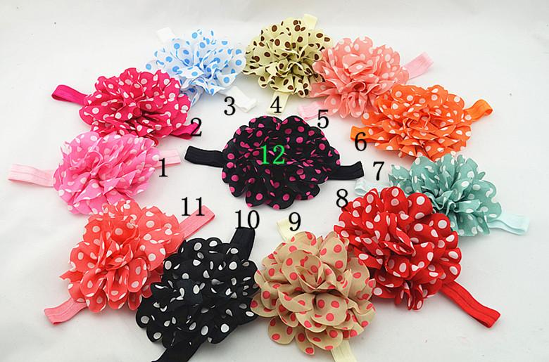 564-564 Baby girl elastic headband chiffon flowers bring new baby headbands child baby hair accessories 12pcs/lot(China (Mainland))